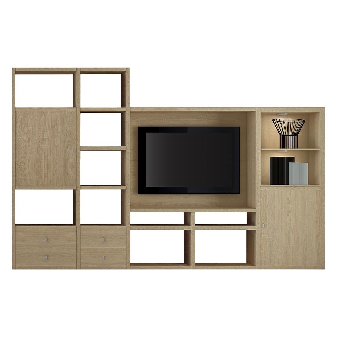 EEK A+, TV-Wand Emporior II - inkl. Beleuchtung - Eiche Dekor, loftscape