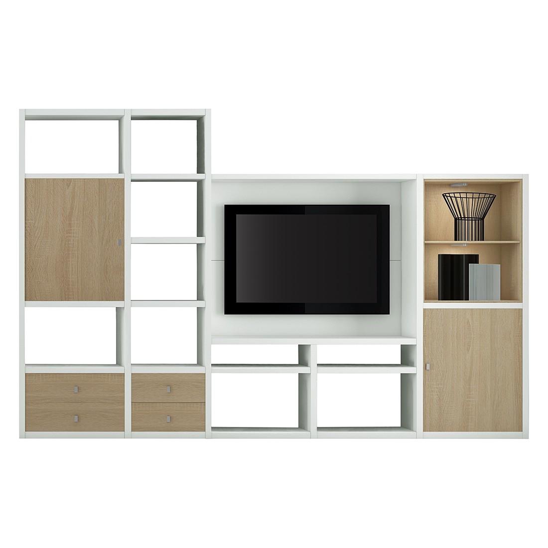 EEK A+, TV-Wand Emporior II - inkl. Beleuchtung - Eiche Dekor / Weiß, loftscape
