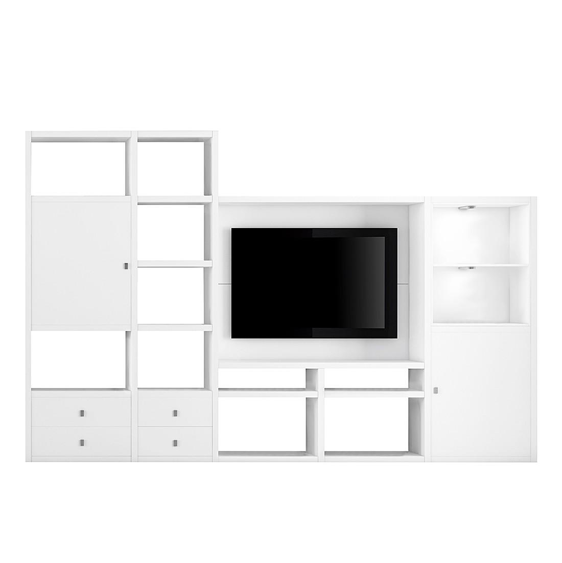 EEK A+, TV-Wand Emporior II - inkl. Beleuchtung - Weiß, loftscape