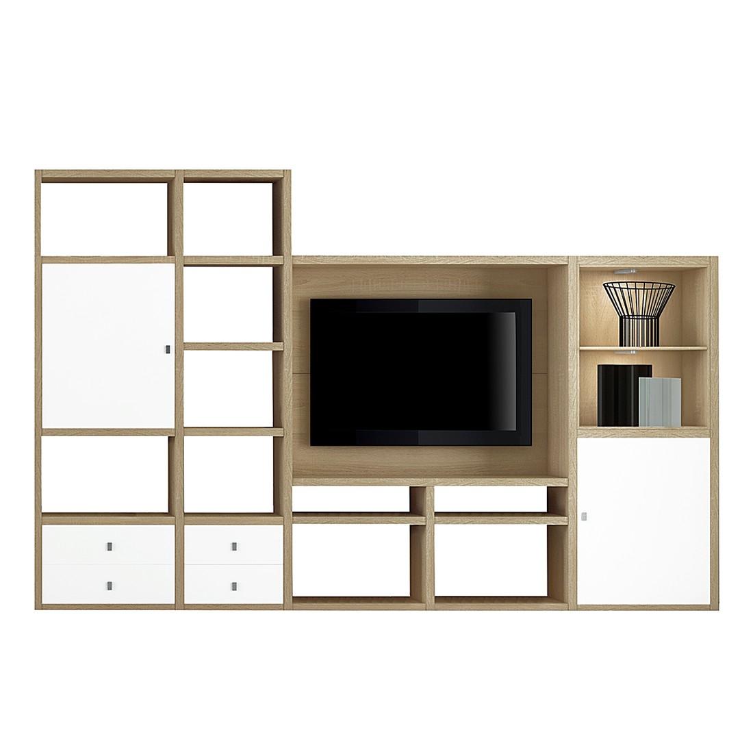 EEK A+, TV-Wand Emporior II - inkl. Beleuchtung - Weiß / Eiche Dekor, loftscape