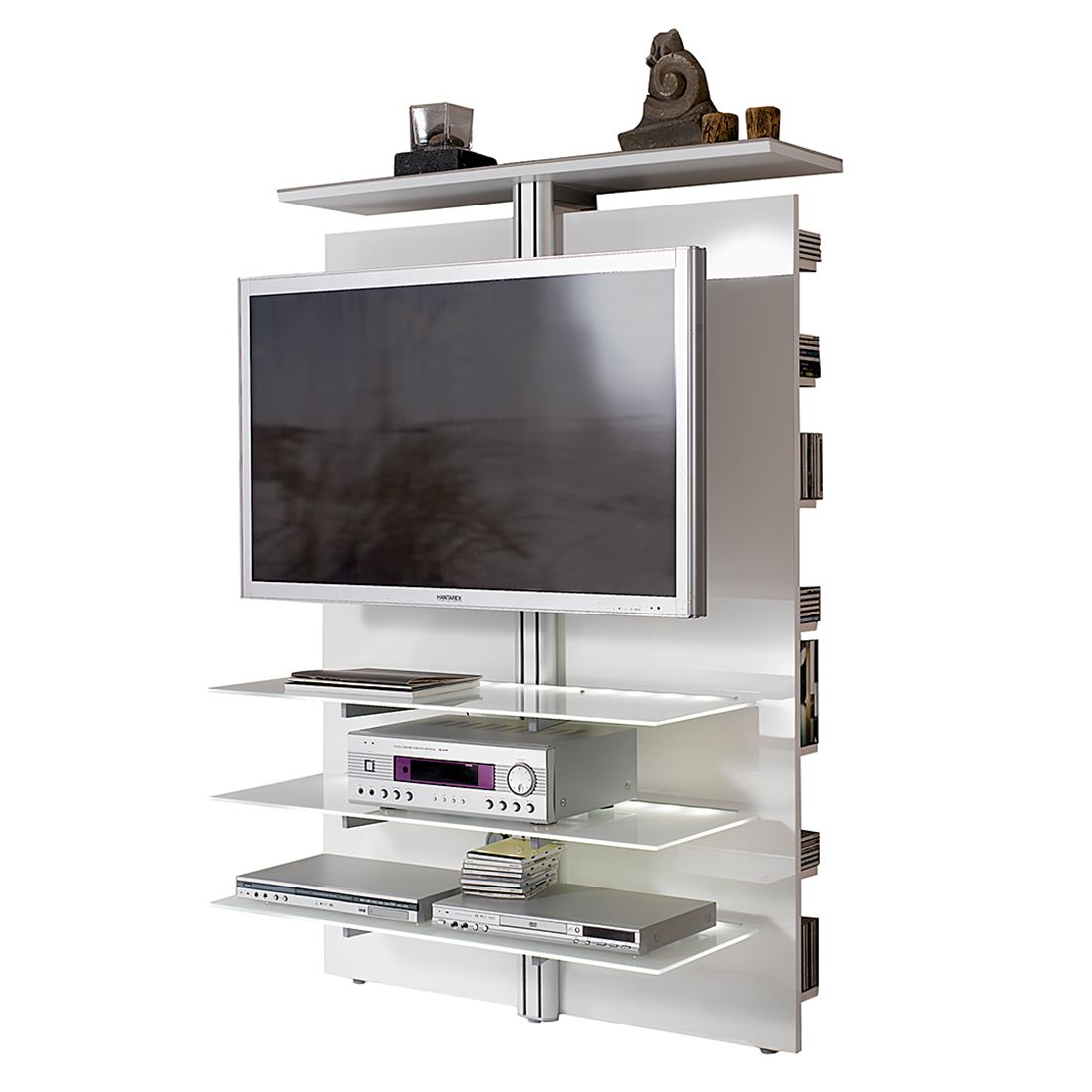 tv wand slc lcd 1900 hochglanz wei mit wei glas ohne beleuchtung. Black Bedroom Furniture Sets. Home Design Ideas