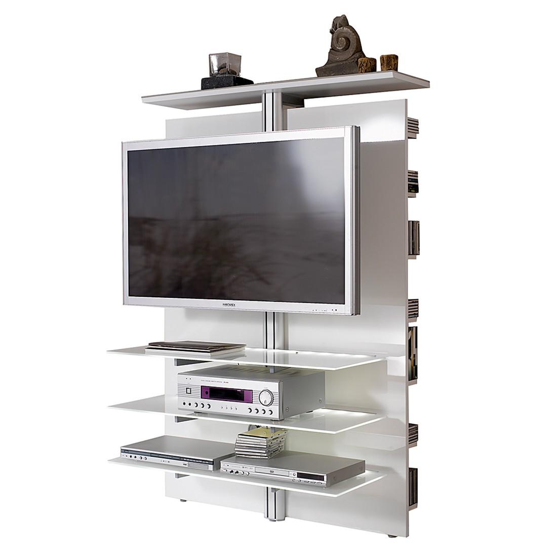 Tv Wand Slc Lcd 1900 Hochglanz Weiß Mit Weißglas Ohne Beleuchtung