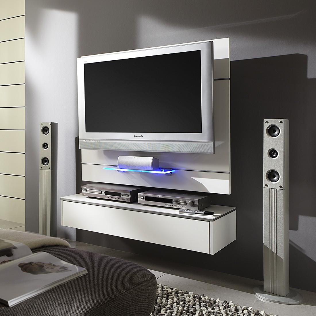 Tv wand weiß hochglanz  TV-Wand Hover 2 - Inkl. Hängemodul Weiß/Weiß - Schrank.info ...