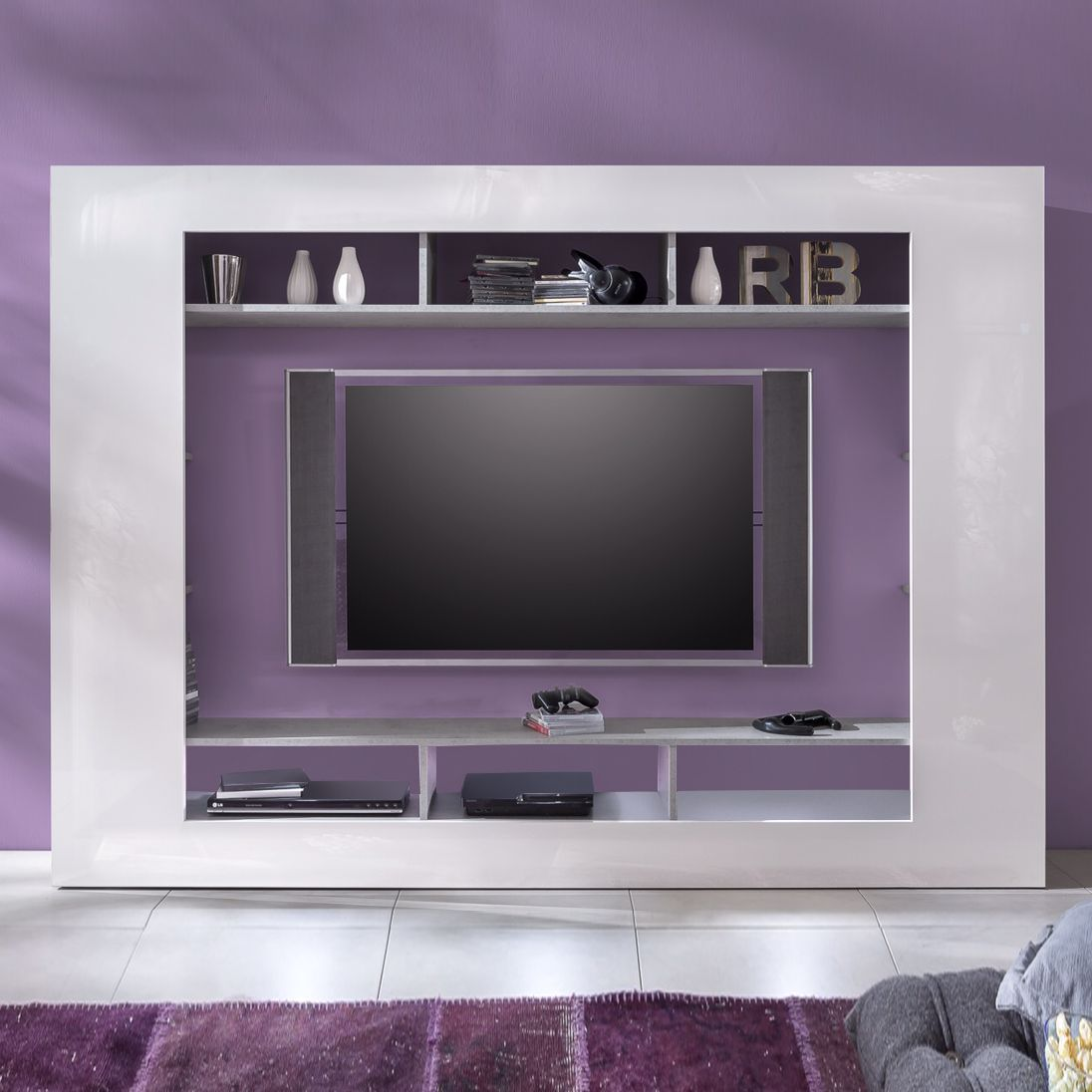 tv wand seki hochglanz wei beton industry dekor tv. Black Bedroom Furniture Sets. Home Design Ideas