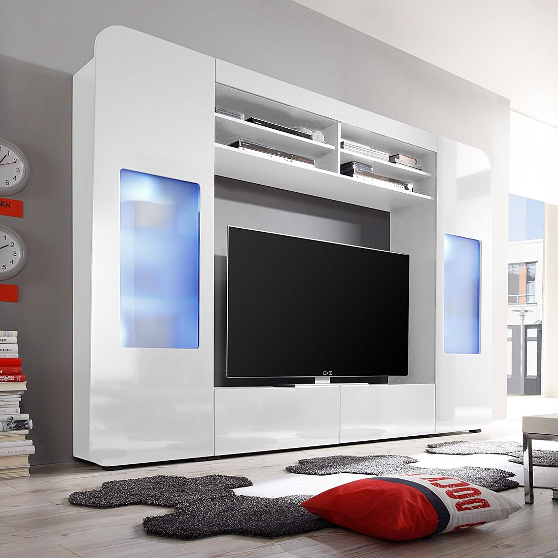 EEK A+, TV-Wand Tabby (inkl. Beleuchtung) – Hochglanz Weiß/Weiß, roomscape günstig