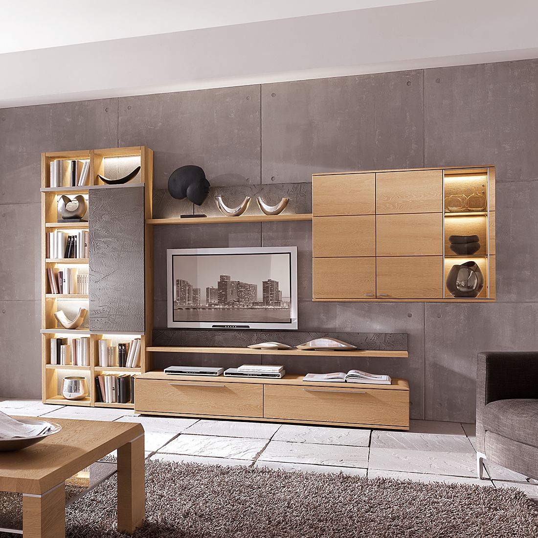 eek a tv wandregal alano i eiche massiv 154 x 18 cm mit beleuchtung hartmann m hmv. Black Bedroom Furniture Sets. Home Design Ideas