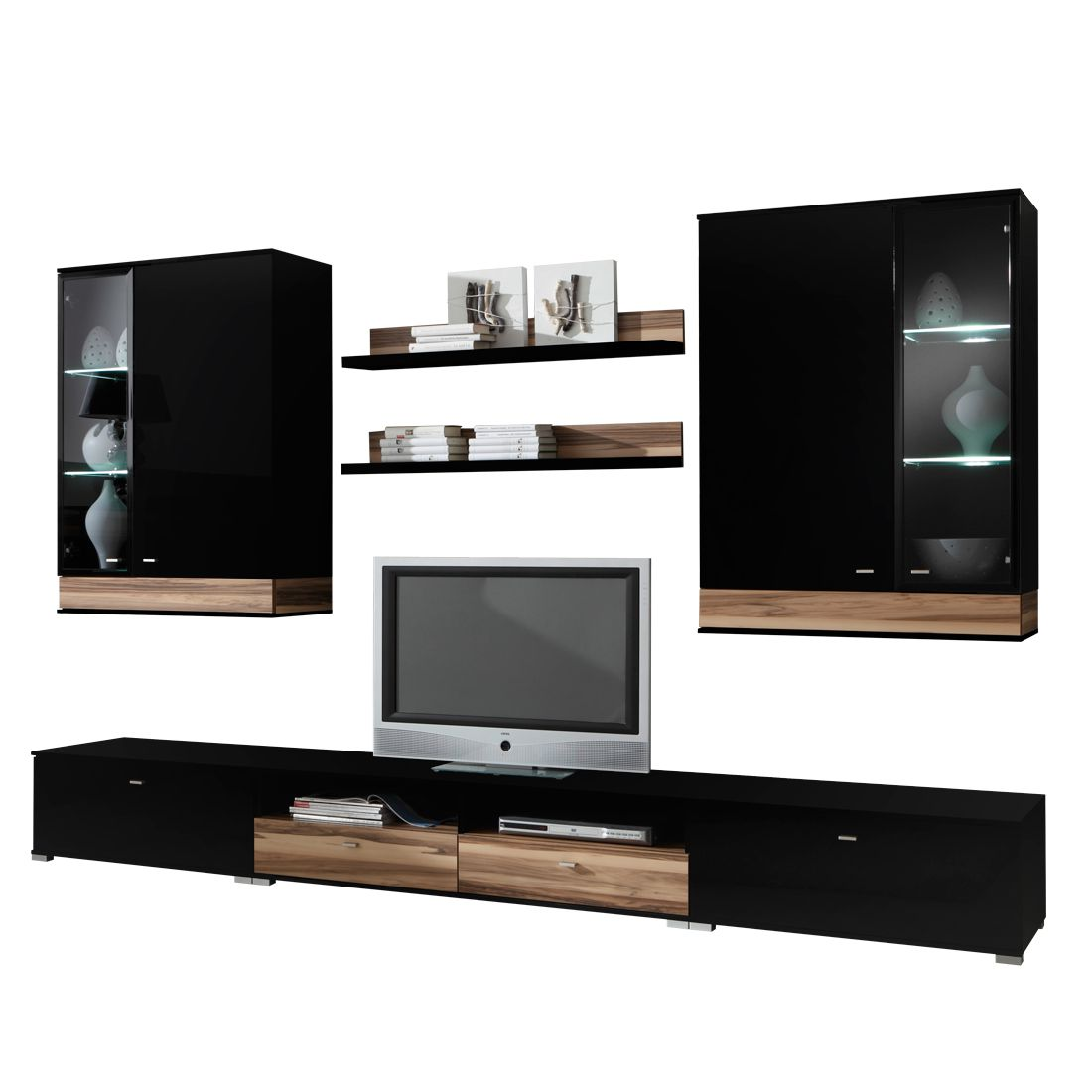 wohnwand nussbaum schwarz poco interessante. Black Bedroom Furniture Sets. Home Design Ideas