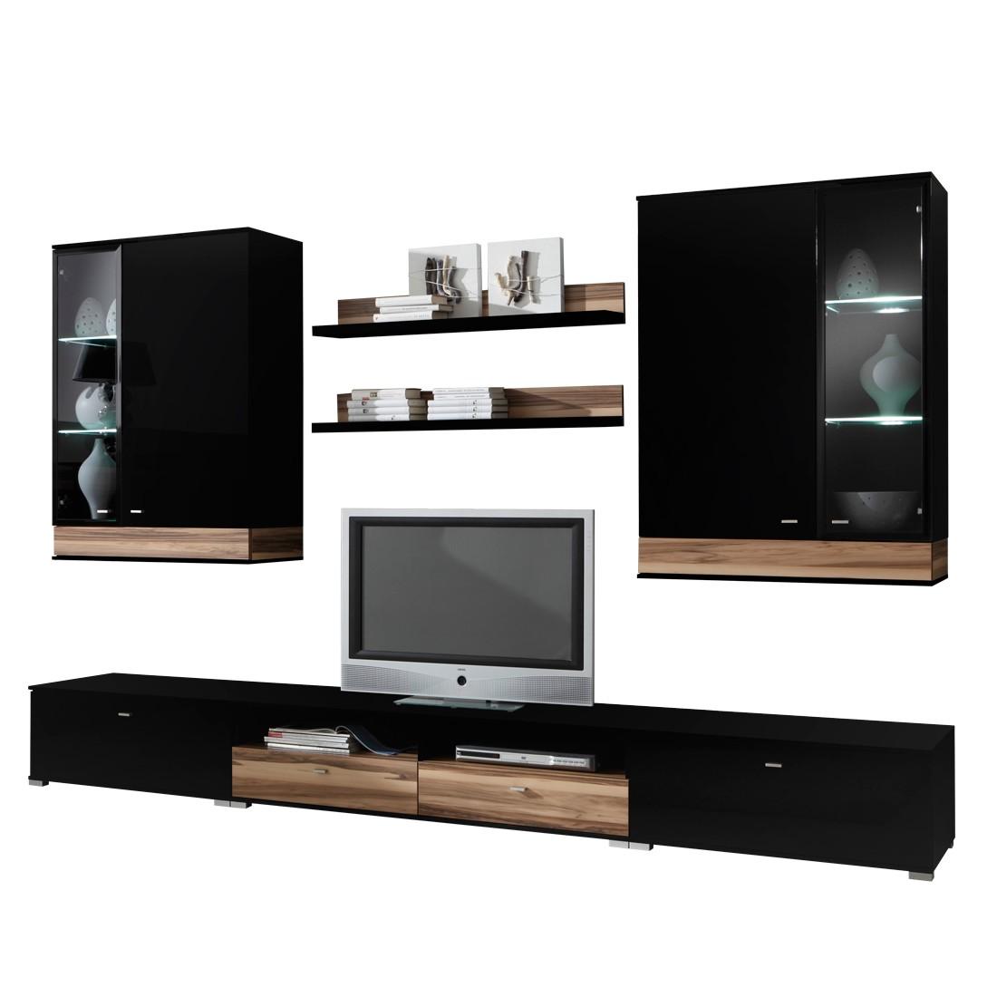 tyler wohnwand schwarz hochglanz nussbaum 7 teilig. Black Bedroom Furniture Sets. Home Design Ideas