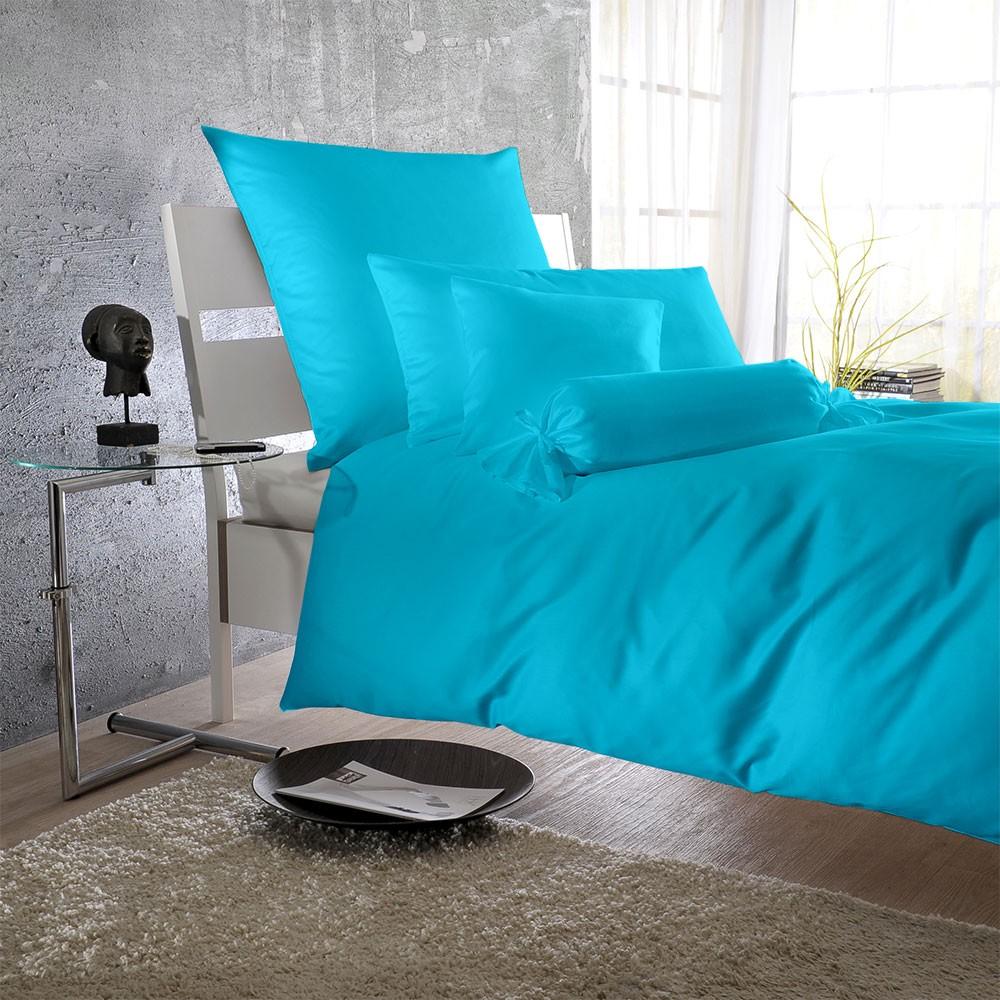 Uni Mako-Satin Bettwäsche – 100% Baumwolle Türkis – Kissenbezug einzeln 40 x 40 cm, Bettwaren-Shop jetzt kaufen