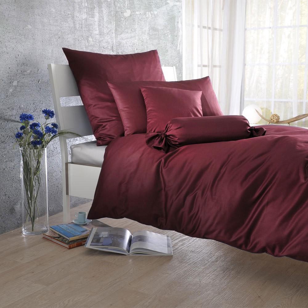 Uni Mako-Satin Bettwäsche bordeaux – 100% Baumwolle Bordeaux – Ausführung Kissenbezug einzeln 40×40 cm, Bettwaren-Shop günstig online kaufen