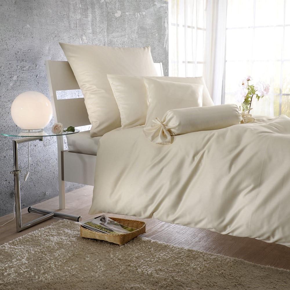 Uni Mako-Satin Bettwäsche creme – 100% Baumwolle Creme – Ausführung Kissenbezug einzeln 35×40 cm, Bettwaren-Shop günstig online kaufen