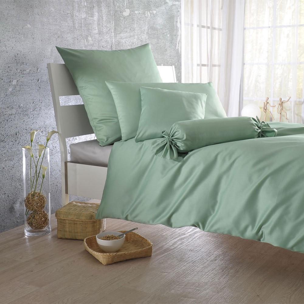 Uni Mako-Satin Bettwäsche linde – 100% Baumwolle Linde – Ausführung Kissenbezug einzeln 40×60 cm, Bettwaren-Shop jetzt kaufen