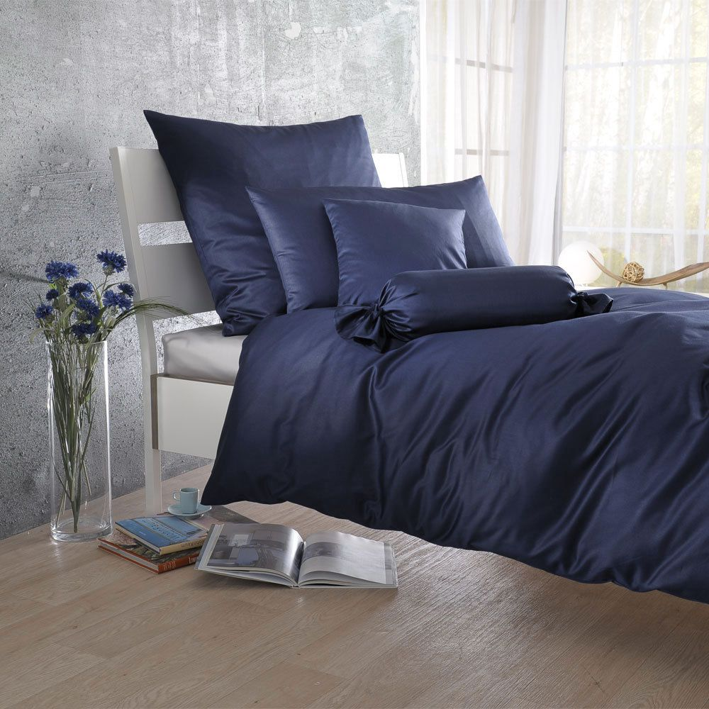 uni mako satin bettw sche navy 100 baumwolle navy ausf hrung bettbezug einzeln 155x200 cm. Black Bedroom Furniture Sets. Home Design Ideas