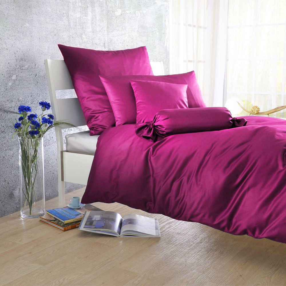 uni mako satin bettw sche purple 100 baumwolle violett ausf hrung kissenbezug einzeln 40x40. Black Bedroom Furniture Sets. Home Design Ideas