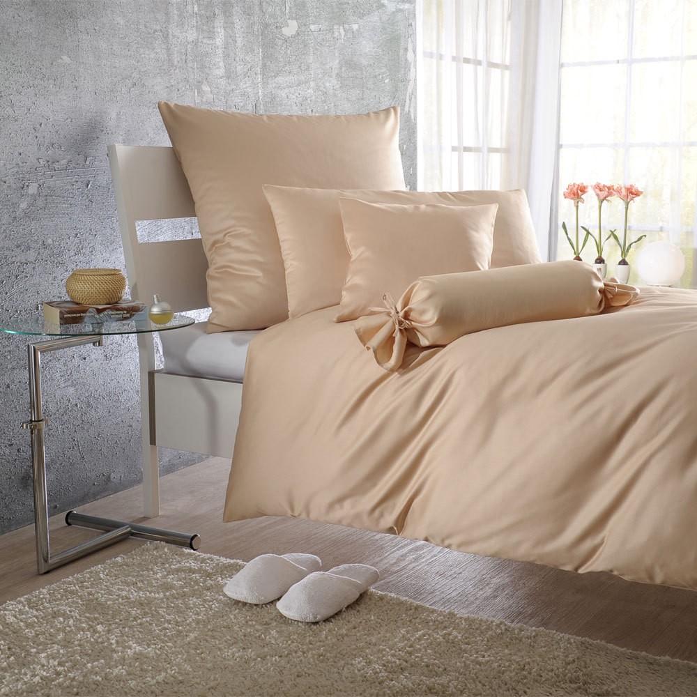 Uni Mako-Satin Bettwäsche sand – 100% Baumwolle Sand – Ausführung Kissenbezug einzeln 70×90 cm, Bettwaren Shop günstig kaufen