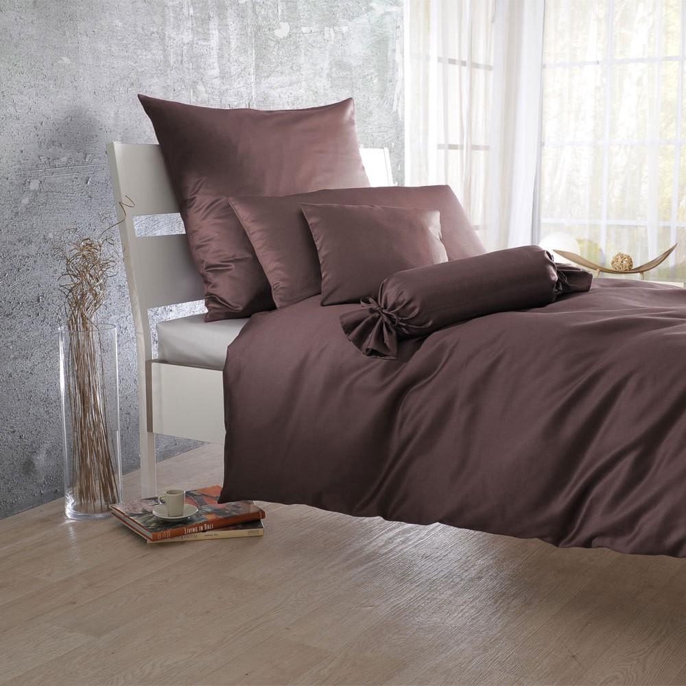 Uni Mako-Satin Bettwäsche schoko – 100% Baumwolle Schoko – Ausführung Kissenbezug einzeln 50×70 cm, Bettwaren-Shop jetzt kaufen