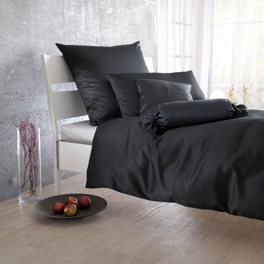 Uni Mako-Satin Bettwäsche schwarz – 100% Baumwolle Schwarz – Ausführung Bettbezug einzeln 135×200 cm, Bettwaren-Shop günstig online kaufen