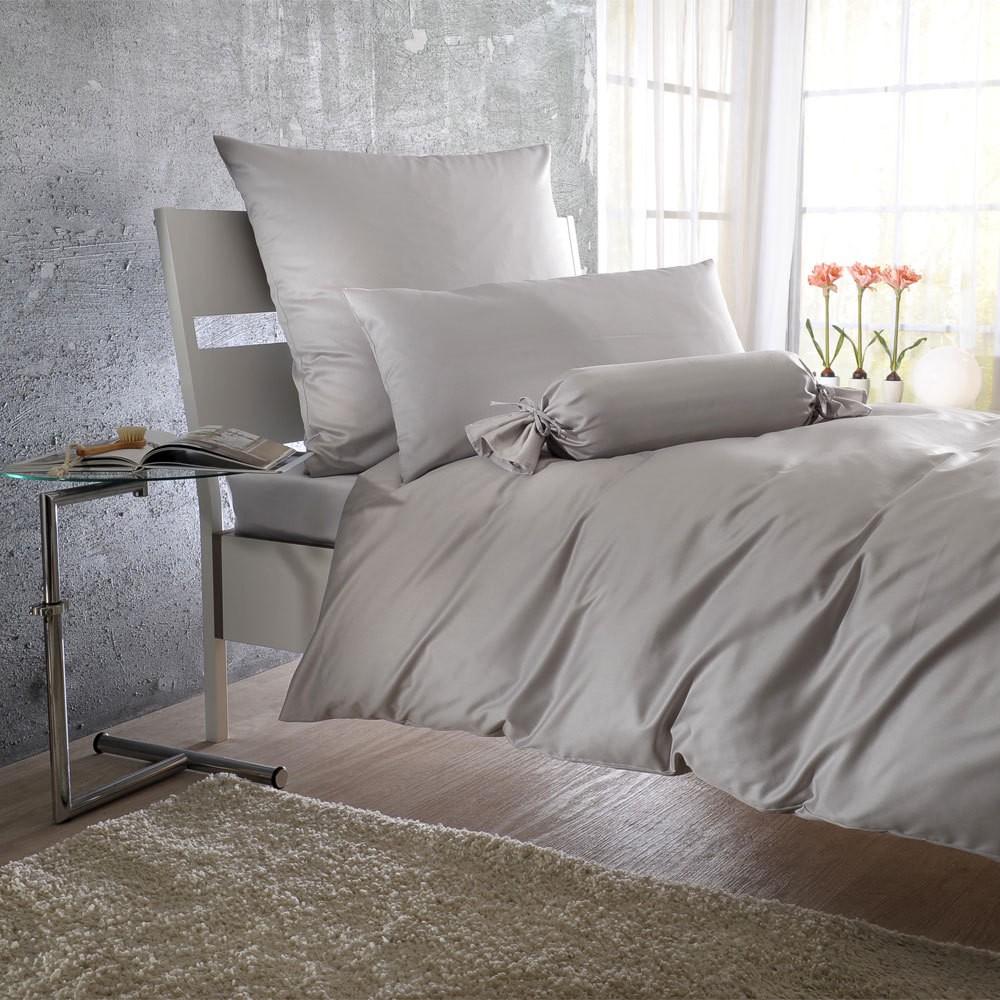 Uni Mako-Satin Bettwäsche silber – 100% Baumwolle Silber – Ausführung Bettbezug einzeln 155×220 cm, Bettwaren-Shop jetzt kaufen