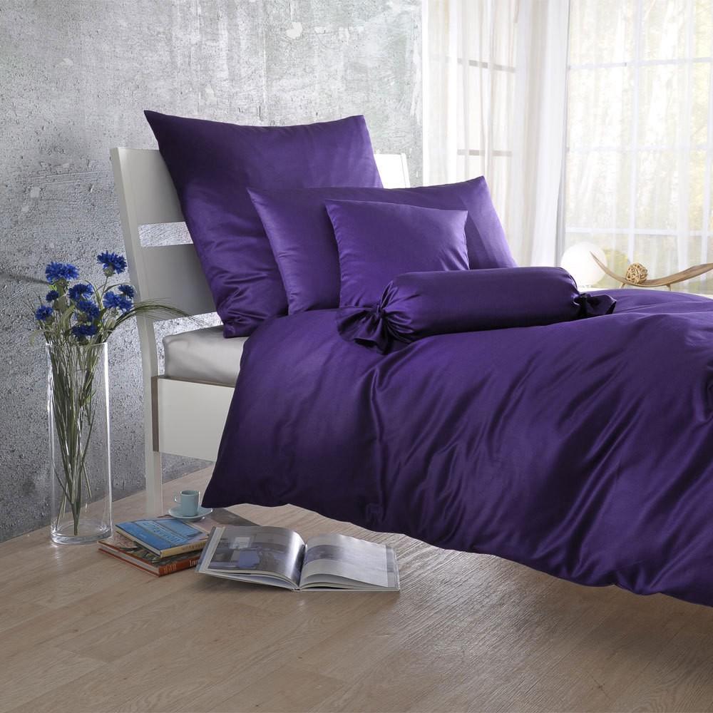 Uni Mako-Satin Bettwäsche violetta – 100% Baumwolle Violetta – Ausführung Kissenbezug einzeln 35×40 cm, Bettwaren-Shop günstig bestellen