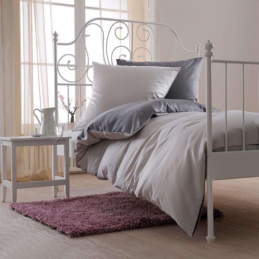 Uni Mako-Satin Wende-Bettwäsche silber/graphit – 100% Baumwolle Silber/graphit – Kissenbezug einzeln 40 x 80 cm, Bettwaren-Shop günstig bestellen