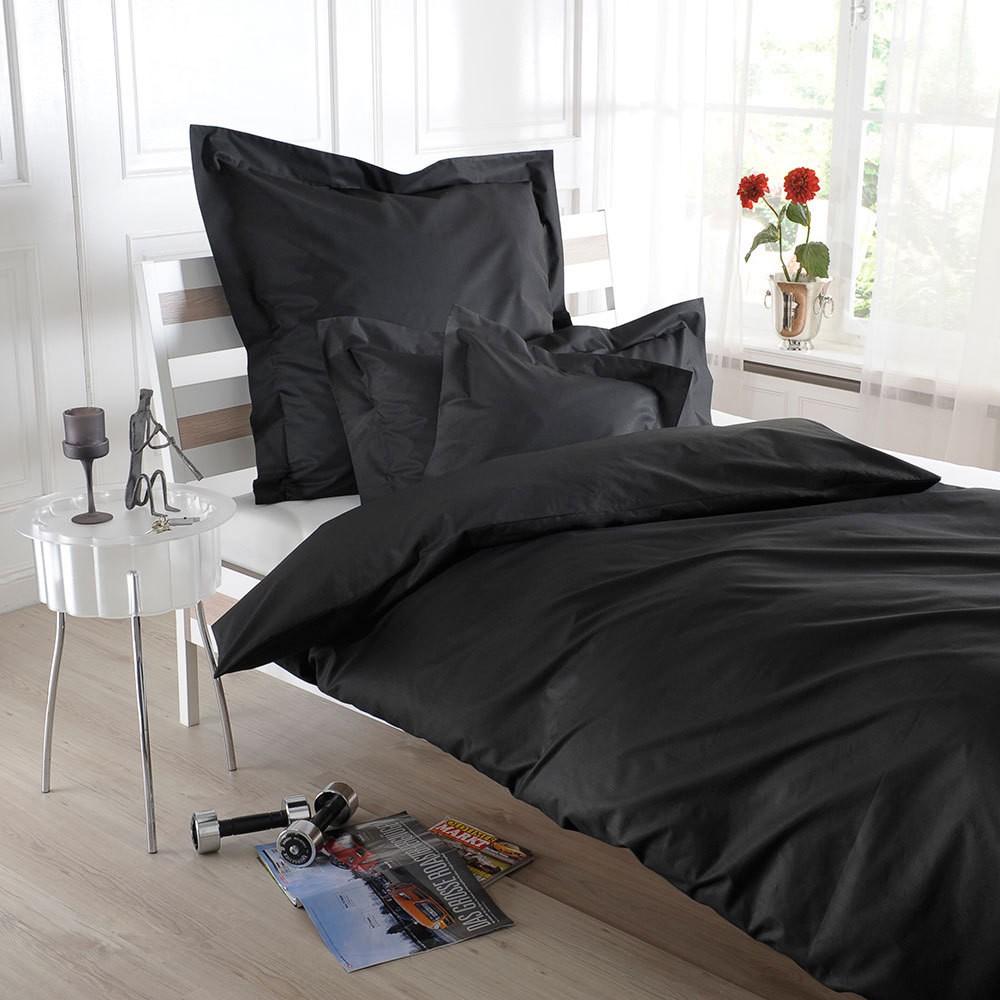 Uni Perkal Bettwäsche schwarz – 100% Baumwolle Schwarz – Kopfkissenbezug einzeln 40 x 40 cm, Bettwaren-Shop jetzt kaufen