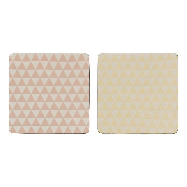 Untersetzer Alberte – Keramik – Dreiecke – Farbe: Rosa, Bloomingville kaufen
