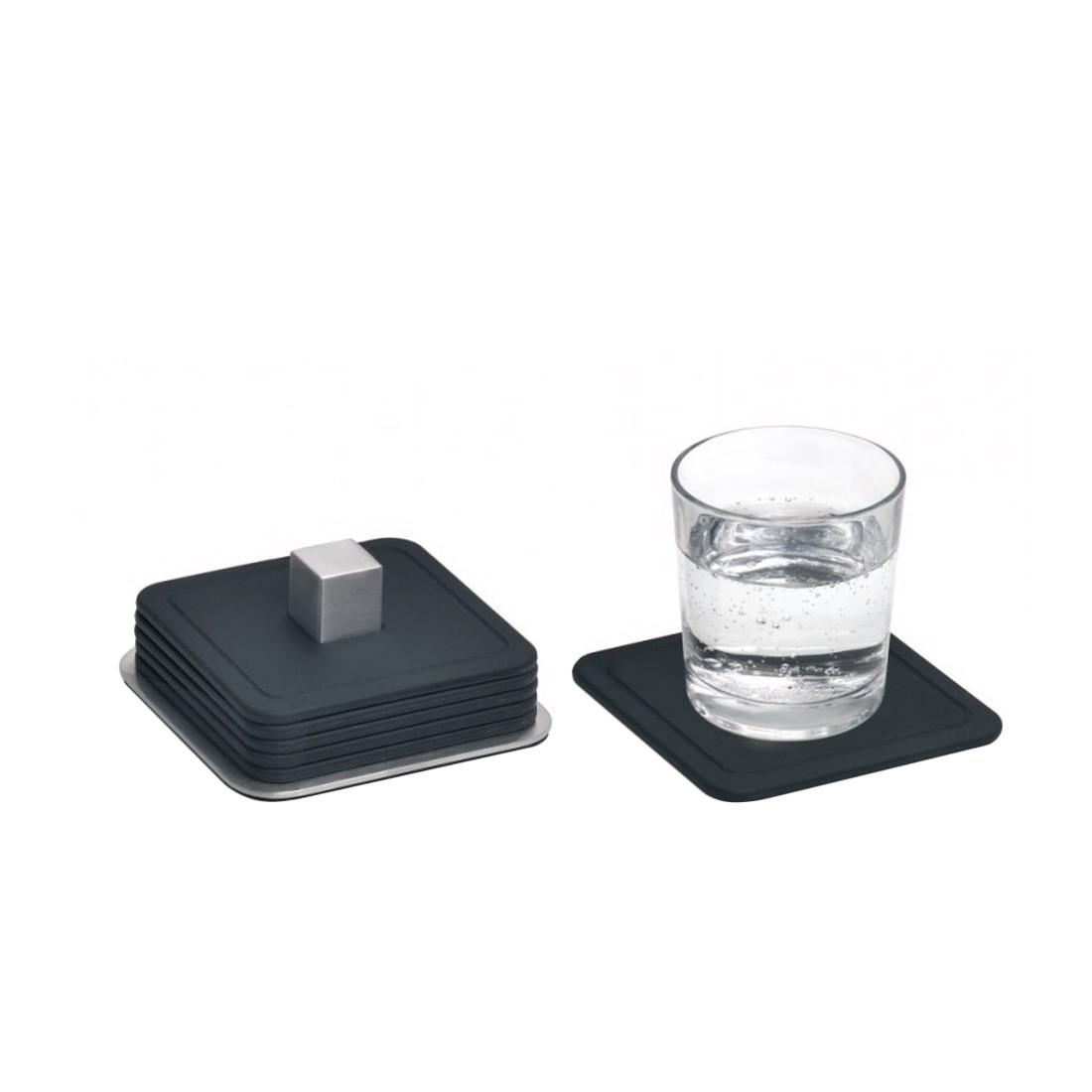 untersetzer trayan set eckig edelstahl silikon blomus. Black Bedroom Furniture Sets. Home Design Ideas