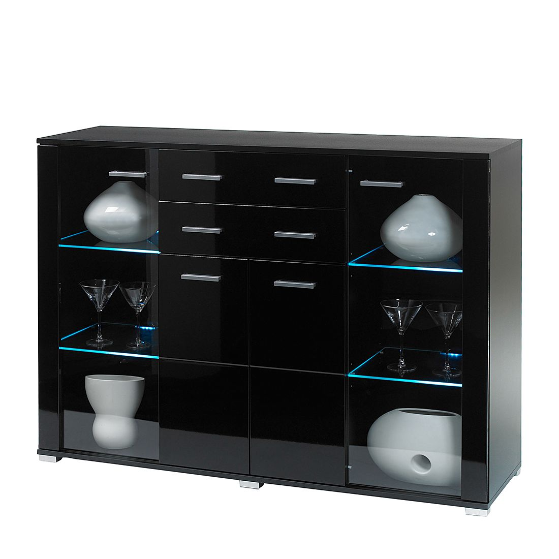 highboard valenzia inkl beleuchtung schwarz hochglanz. Black Bedroom Furniture Sets. Home Design Ideas