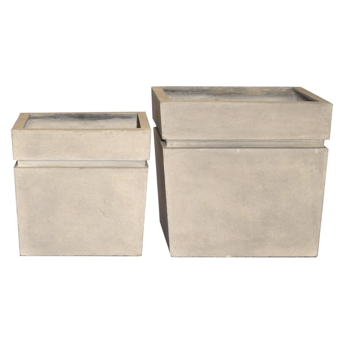 Pflanzkübel Cornish Stone – Kunststoff – Modern Eckig- 2er-Set, Viducci's Garden günstig