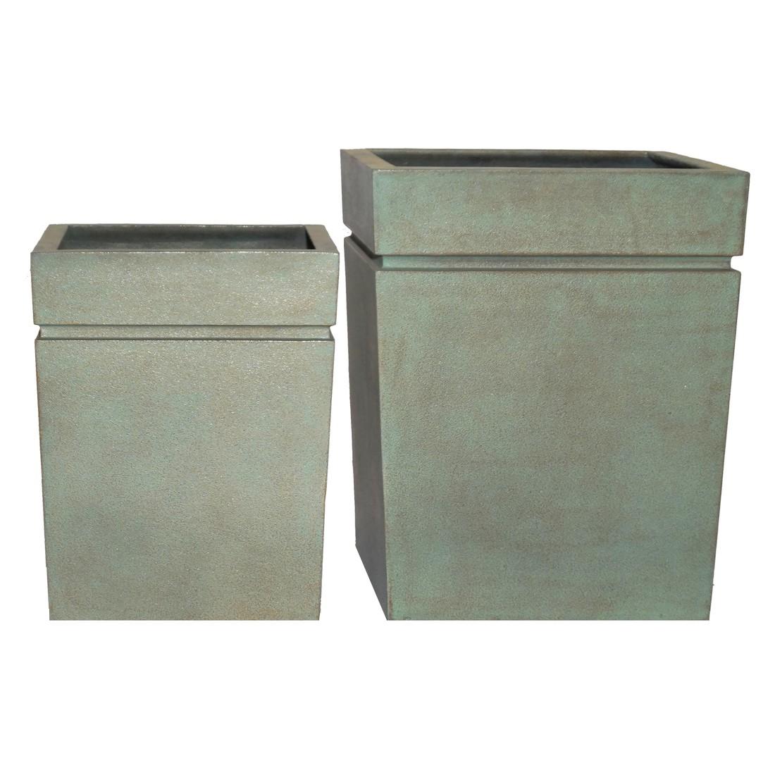 Pflanzkübel Copper Green – Kunststoff – Modern Eckig – 2er-Set, Viducci's Garden jetzt kaufen