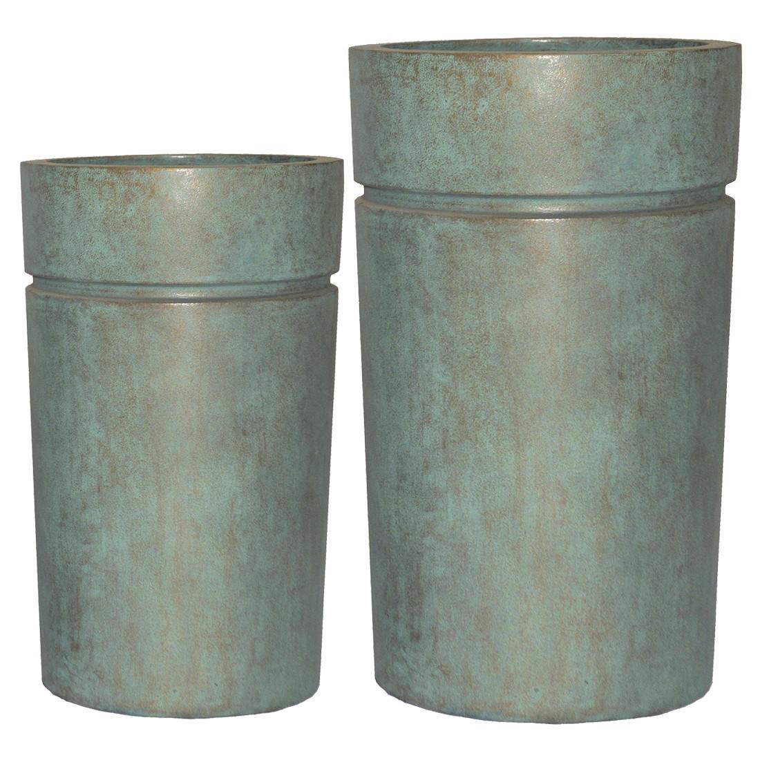 Pflanzkübel Copper Green – Kunststoff – Modern Rund – Tief – 2er-Set, Viducci's Garden online bestellen