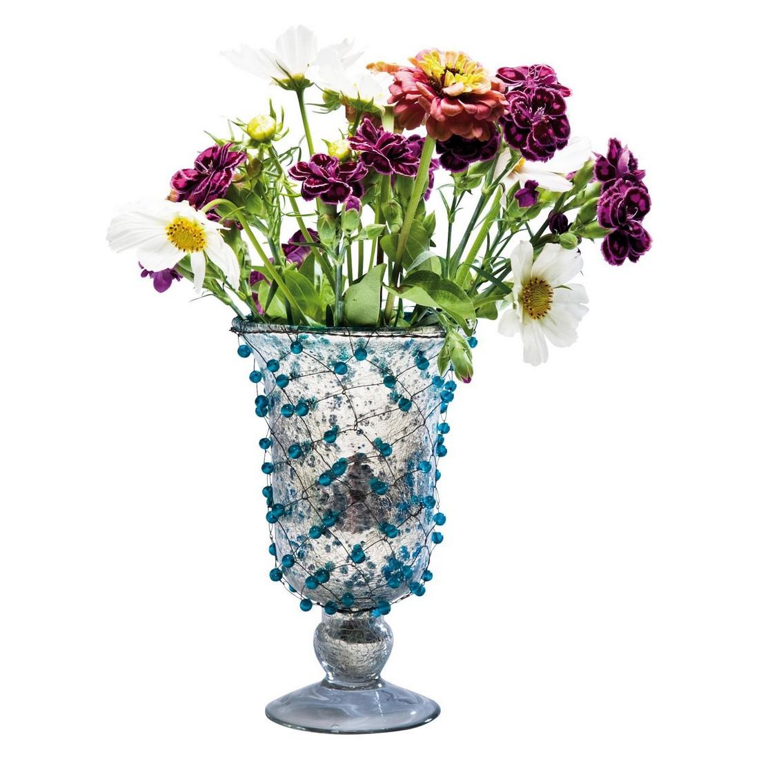 Vase Wire Beads Blue 22cm – Glas silberfarben lackiert, Eisendraht, Glasperlen Blau, Kare Design jetzt bestellen