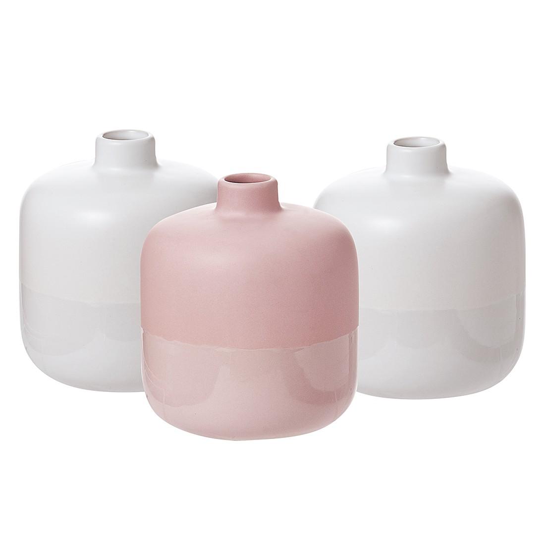 Vasen Rabat (3er-Set) – Keramik – Weiß/Pink, Present Time günstig
