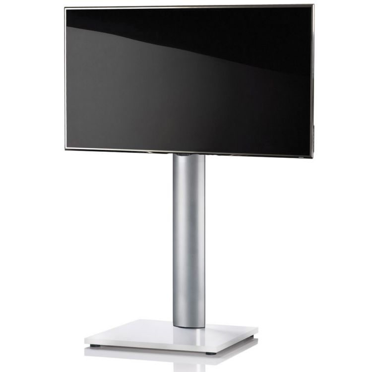 tv standfu onu weisslack tv standfu st nder aluminium in silber mit mdf bodenplatte. Black Bedroom Furniture Sets. Home Design Ideas