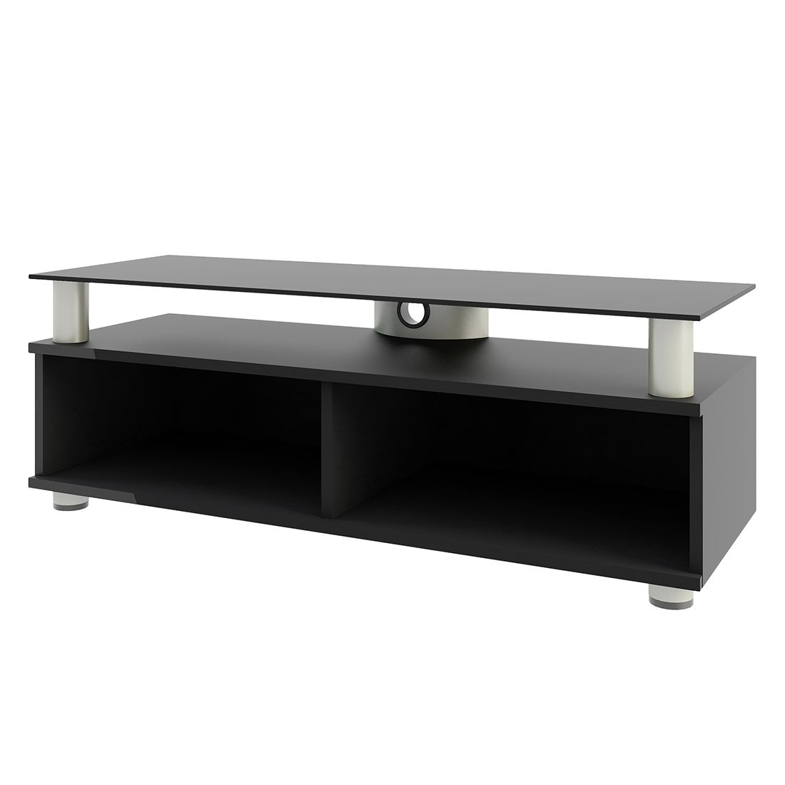 rack tv lowboard clunis mdf aluminium esg sicherheitsglas weisslack vcm jetzt kaufen. Black Bedroom Furniture Sets. Home Design Ideas