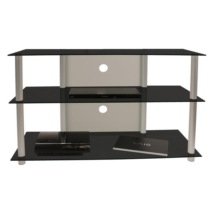 TV-Möbel Olopa XXL – LCD Rack – LED Tisch – Aluminium – ESG-Sicherheitsglas Schwarzglas, VCM jetzt bestellen