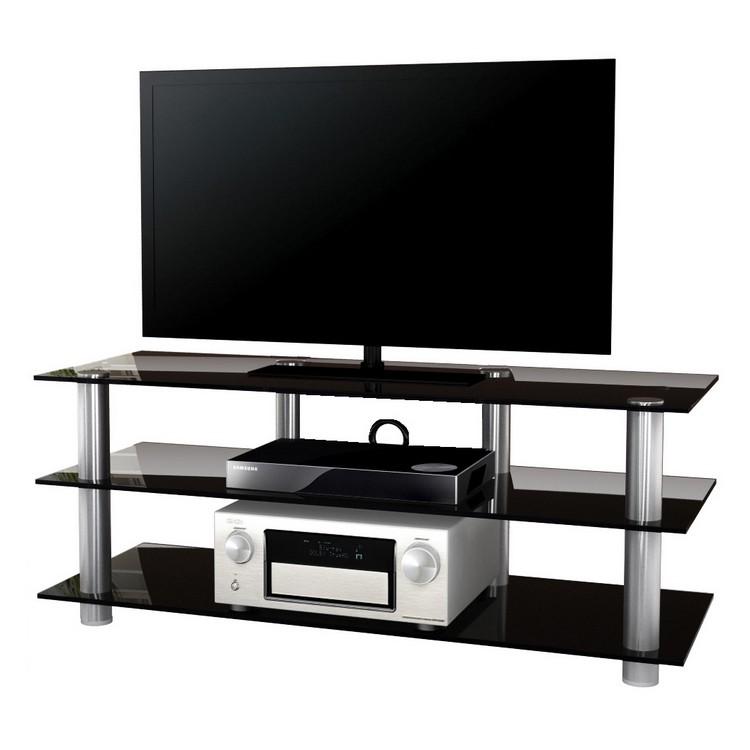 TV-Möbel Posio Big XXL – LCD Rack – LED – Aluminium – ESG-Sicherheitsglas Schwarzglas, VCM kaufen