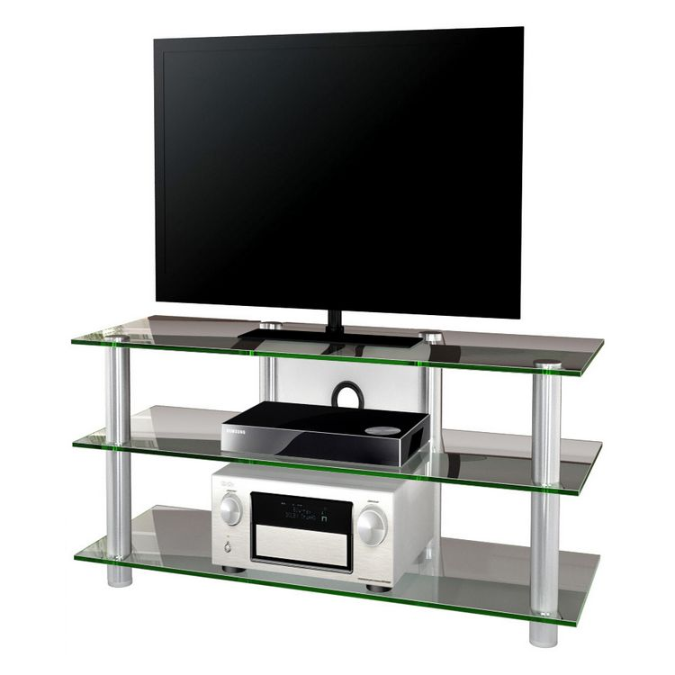 tv m bel zumbo lcd rack led tisch alu aluminium esg sicherheitsglas klarglas vcm online. Black Bedroom Furniture Sets. Home Design Ideas