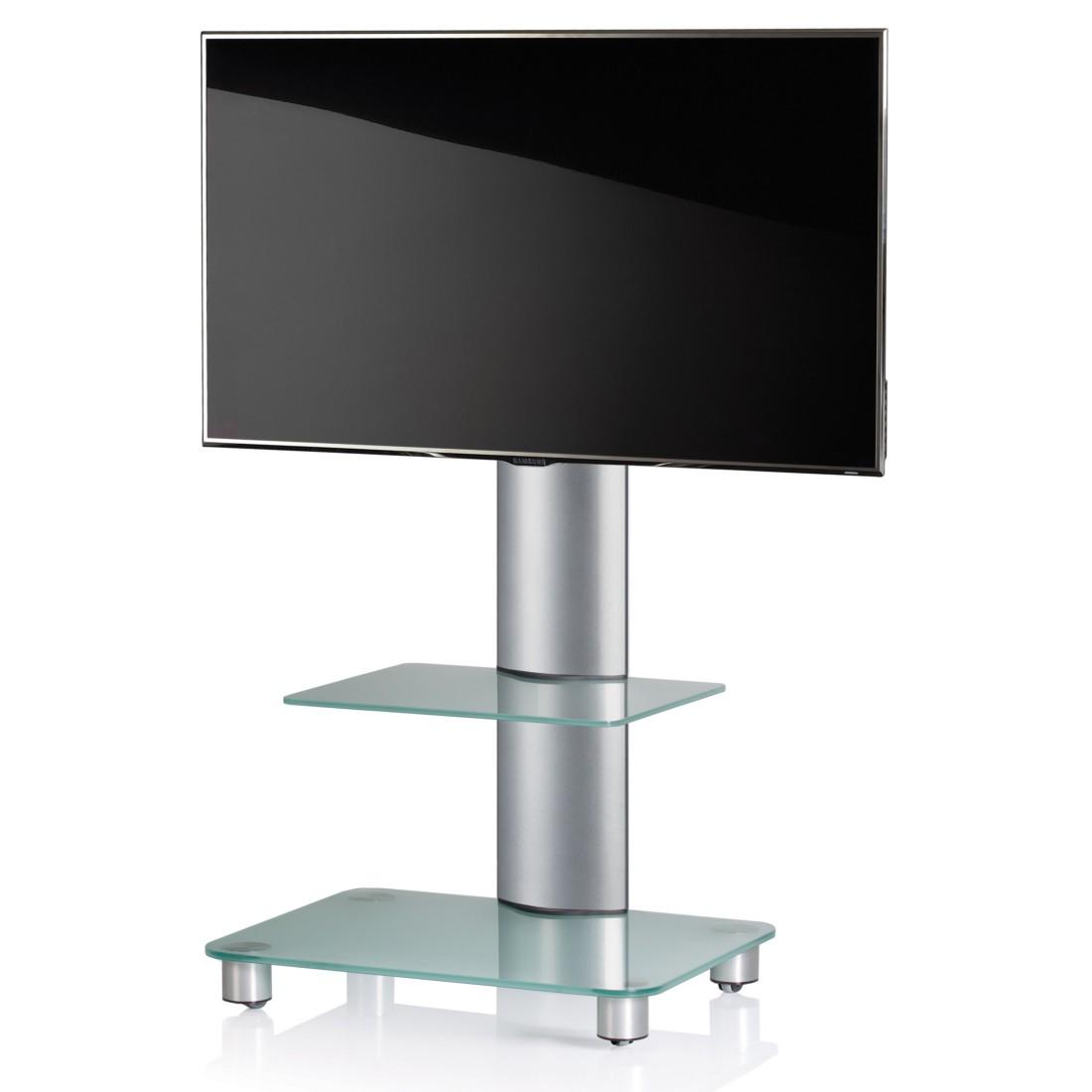 vcm tv standfuss bilano silber mit zwischenboden tv rack aus aluminium und glas. Black Bedroom Furniture Sets. Home Design Ideas
