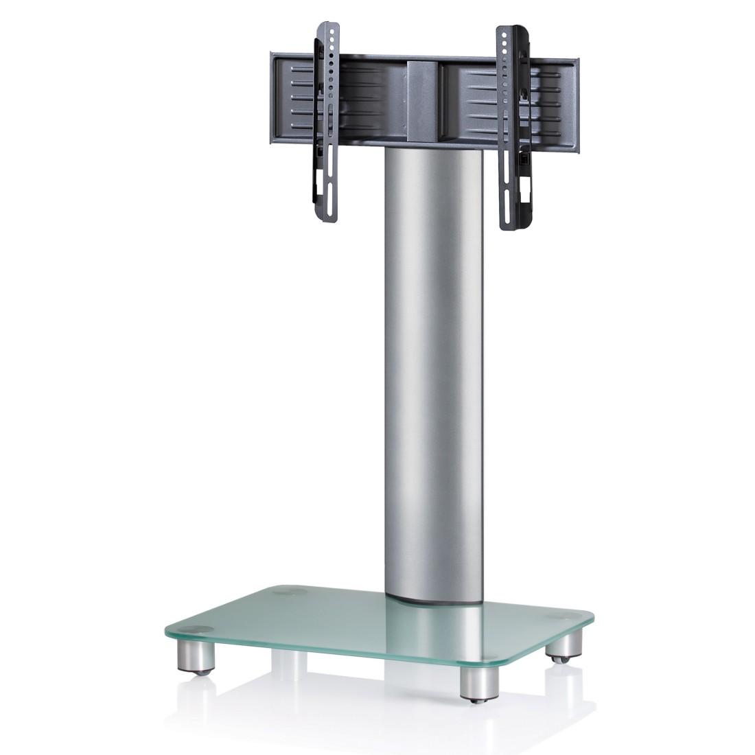 VCM TV-Standfuss Bilano Silber ohne Zwischenboden - TV-Rack aus Aluminium und Glas