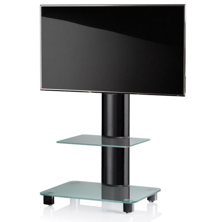 VCM TV-Standfuss Tosal Schwarz mit Zwischenboden - TV-Rack aus Aluminium und Glas