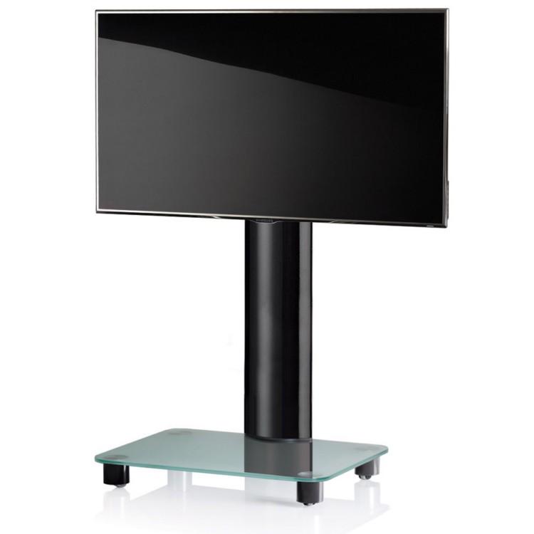 VCM TV-Standfuss Tosal Schwarz ohne Zwischenboden - TV-Rack aus Aluminium und Glas