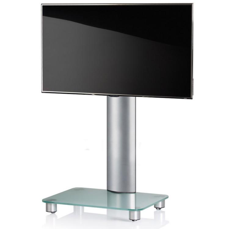 VCM TV-Standfuss Tosal Silber ohne Zwischenboden - TV-Rack aus Aluminium und Glas