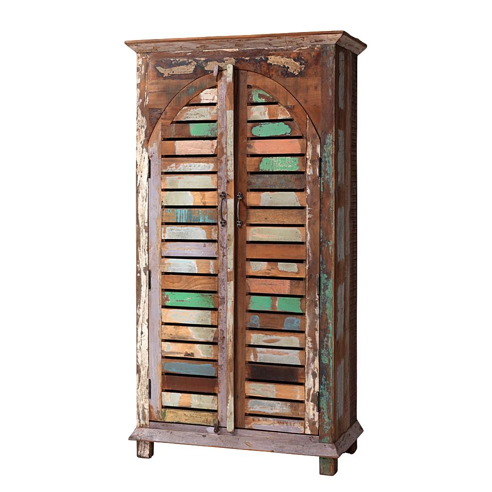 Vintage-Bücherschrank Barbados - Recyclingholz - Braun-Bunt