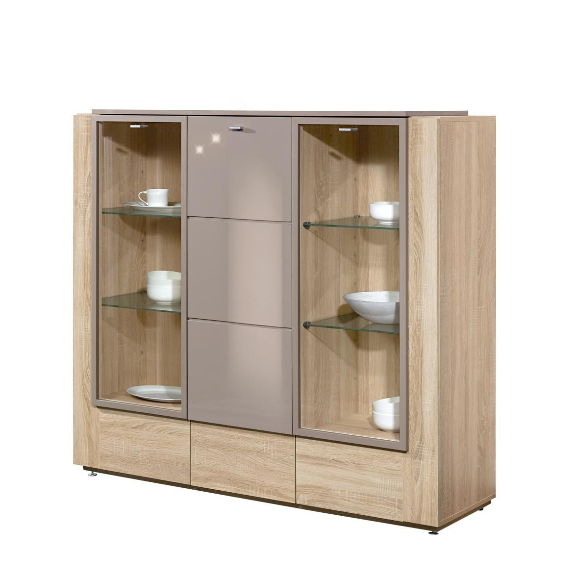 vitrine ancona eiche dekor grau hochglanz drei t ren zubeh r mit beleuchtung perfectfurn. Black Bedroom Furniture Sets. Home Design Ideas