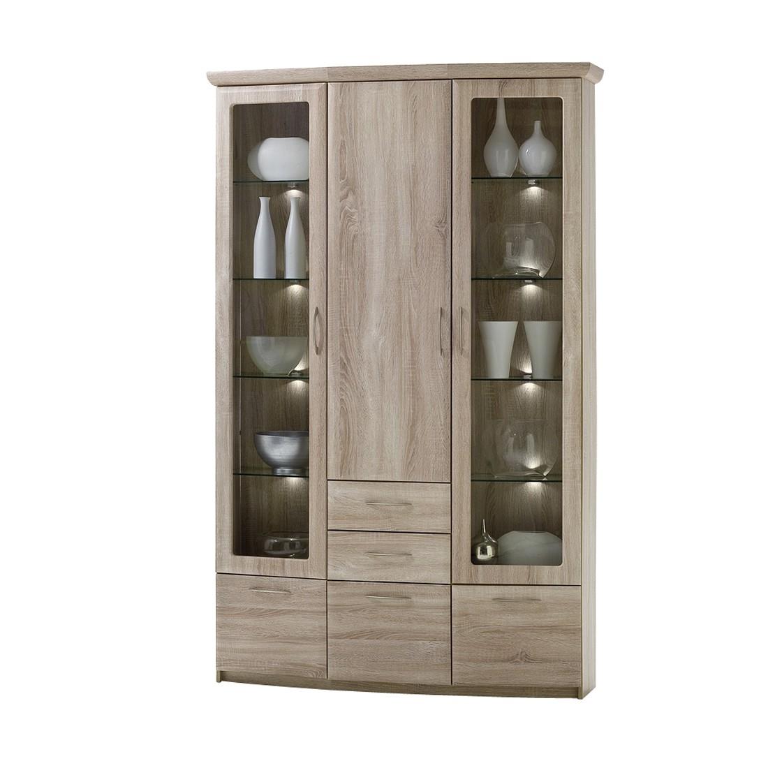 vitrine brixen sonoma eiche ohne beleuchtung und spiegelr ckwand modoform g nstig. Black Bedroom Furniture Sets. Home Design Ideas
