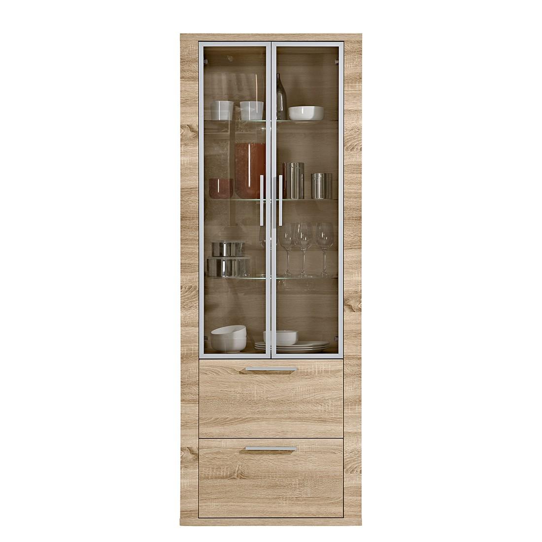 vitrine cool mit zwei schubladen eiche dekor arte m g nstig. Black Bedroom Furniture Sets. Home Design Ideas
