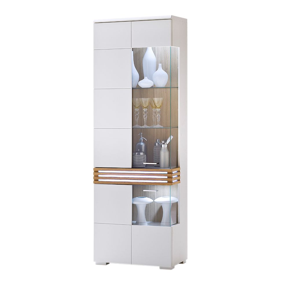 vitrine gladiatore mdf eiche massivholz wei lackiert ausf hrung ohne beleuchtung. Black Bedroom Furniture Sets. Home Design Ideas