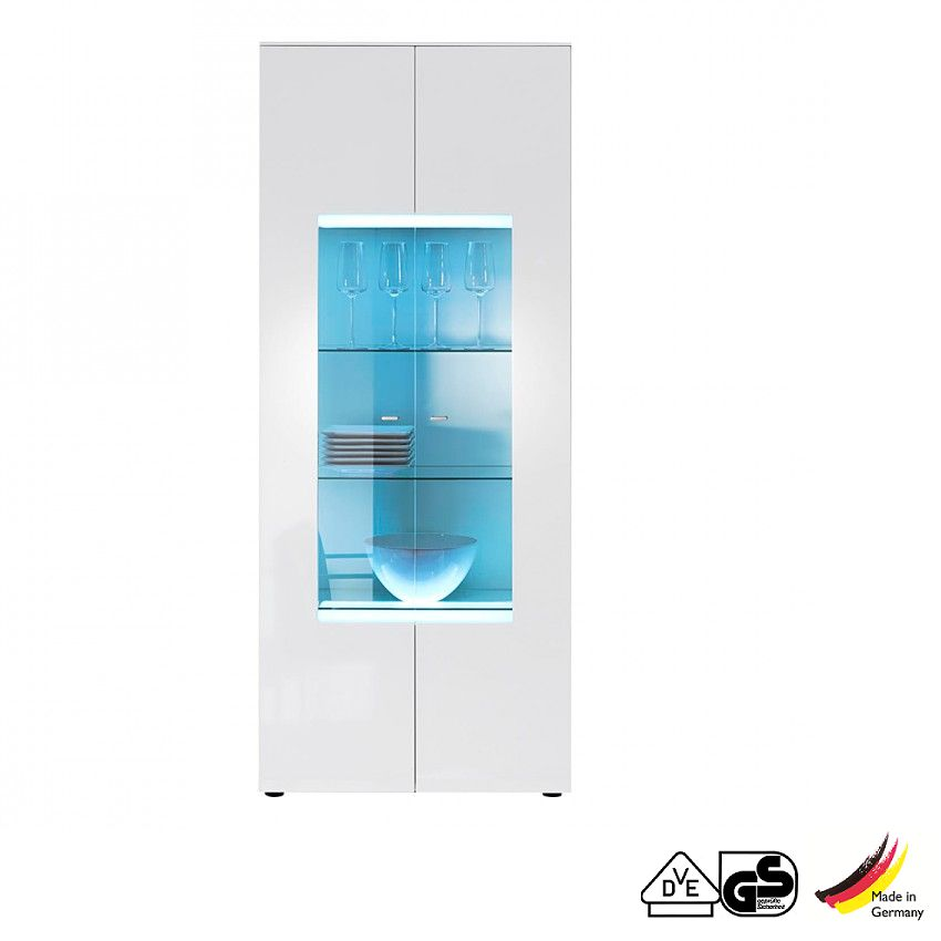 Vitrine Lumino U2013 Weiß/Weiß Hochglanz