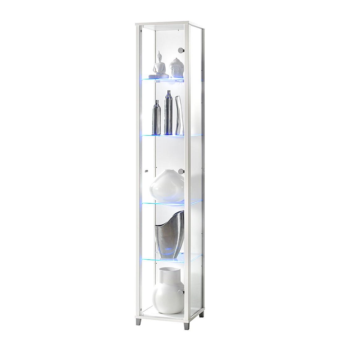EEK A+, Vitrine Exhibit I – mit LED-Beleuchtung – Klarglas/Weiß, Modoform günstig